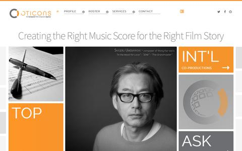 Screenshot of Home Page oticons.com - Oticons - the European Film Composers Agency - captured Dec. 4, 2019