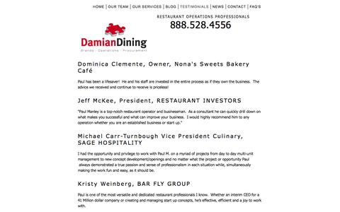Screenshot of Testimonials Page damiandining.com - What our Customers are Saying - captured Oct. 27, 2014