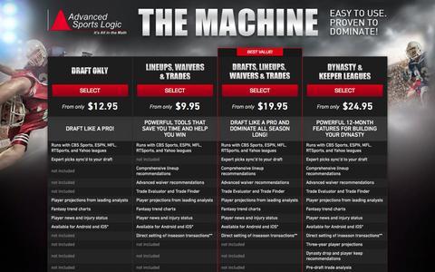 Screenshot of Products Page advancedsportslogic.com - Fantasy Football Draft Tools | The Machine Draft Software - Advanced Sports Logic - captured Sept. 13, 2014