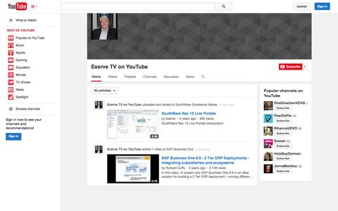 Screenshot of YouTube Page youtube.com - Exerve TV on YouTube  - YouTube - captured Oct. 22, 2014