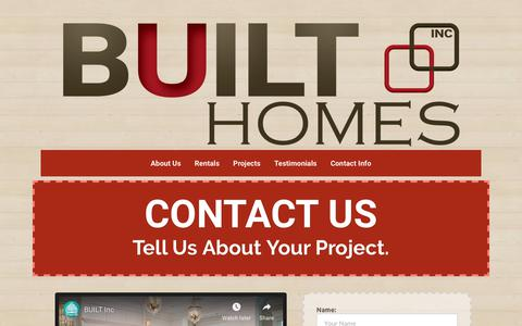 Screenshot of Contact Page builthomes.ca - BUILT | Thank You! - captured Nov. 6, 2018