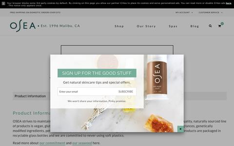 Screenshot of FAQ Page Support Page oseamalibu.com - Customer Service – OSEA Malibu - captured June 16, 2017