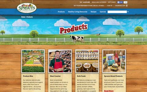 Screenshot of Products Page sprouts.com - Products - Sprouts Farmers Market - captured Jan. 14, 2016