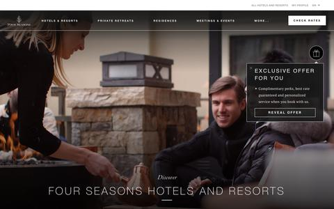 Screenshot of Home Page fourseasons.com - Four Seasons Hotels and Resorts | Luxury Hotels | Four Seasons - captured July 12, 2019