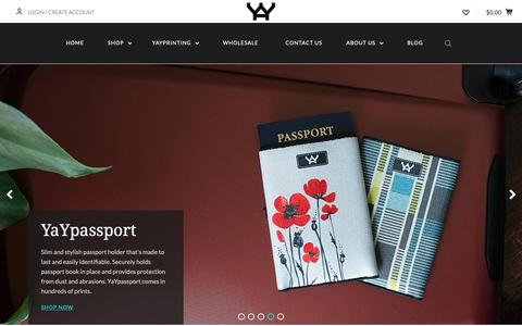 Screenshot of Home Page yaynovelty.com - Ultra-Compact Credit Card Wallet, Quality Reusable Bag, Passport Holder - captured Oct. 21, 2018