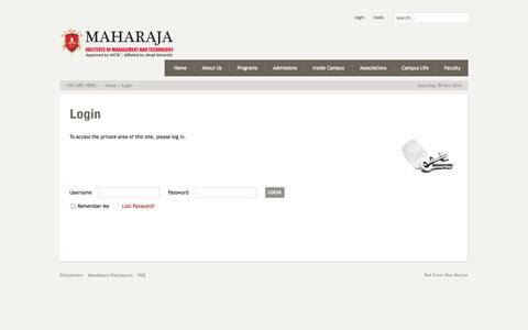 Screenshot of Login Page maharaja.edu.in - Login - captured Oct. 3, 2014