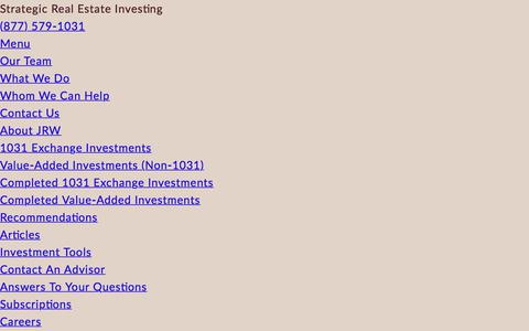Screenshot of Menu Page jrwinvestments.com - Mobile Menu | JRW Investments - captured July 27, 2018