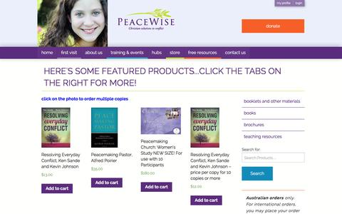 Screenshot of Products Page peacewise.org.au - PeaceWise » Christian solutions to conflict - captured Dec. 7, 2015