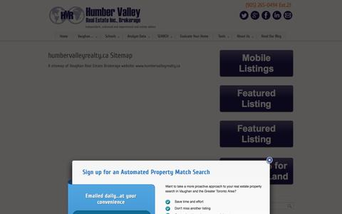 Screenshot of Site Map Page humbervalleyrealty.ca - Sitemap of HumberValleyRealty.ca Vaughan real estate website - captured Oct. 1, 2014