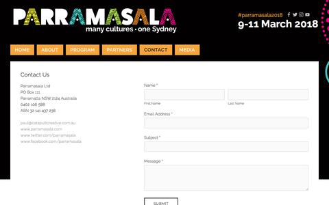 Screenshot of Contact Page parramasala.com - Contact — Parramasala - captured July 16, 2018