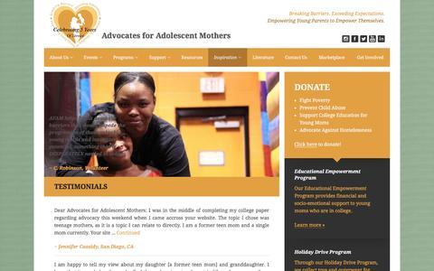 Screenshot of Testimonials Page advocatesforadolescentmothers.com - Testimonials Archives | Advocates for Adolescent Mothers - captured Dec. 24, 2015