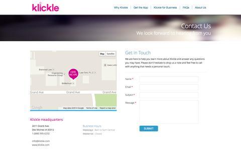 Screenshot of Contact Page klickle.com - Klickle Contact Information - Klickle.com - captured Sept. 30, 2014