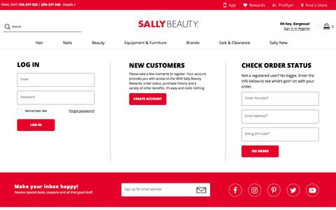 Screenshot of Login Page sallybeauty.com - Login To Your Account - captured Aug. 22, 2019