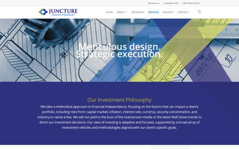 Screenshot of Services Page juncturewealth.com - Services    Juncture Wealth Strategies - captured Oct. 14, 2018