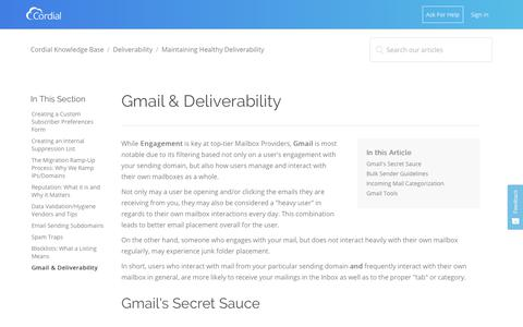Screenshot of Support Page cordial.com - Gmail & Deliverability  – Cordial Knowledge Base - captured Jan. 8, 2019