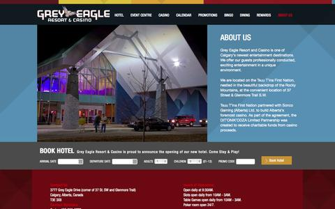 Screenshot of About Page greyeagleresortandcasino.ca - About Our Calgary Casino & Resort | Grey Eagle Casino - captured Oct. 3, 2014