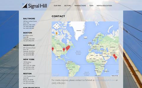 Screenshot of Contact Page signalhill.com - Contact : Signal Hill - captured Oct. 30, 2014