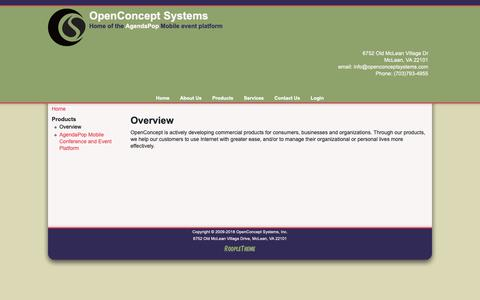 Screenshot of Products Page openconceptsystems.com - Overview | OpenConcept Systems - captured Oct. 20, 2018