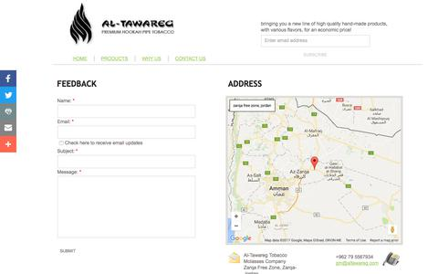 Screenshot of Privacy Page Contact Page al-tawareg-tobacco.com - CONTACT US - captured Oct. 7, 2017