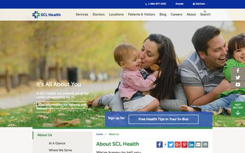 Screenshot of About Page sclhealth.org - About Us | SCL Health | Denver, CO - captured April 25, 2017