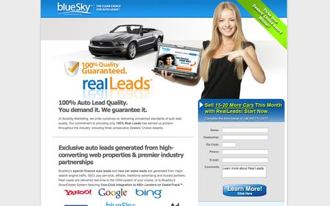 Screenshot of Landing Page blueskymarketing.com - Internet Auto Leads & Car Sales Leads | Real Leads by BlueSky Marketing - captured Oct. 27, 2014