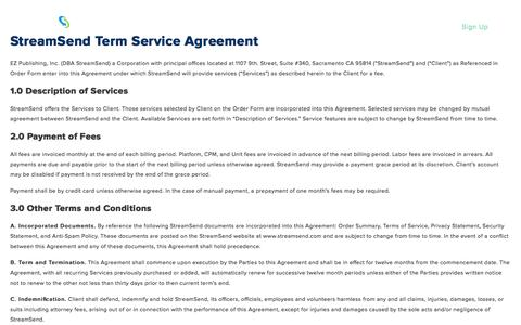 Terms of Agreement - StreamSend