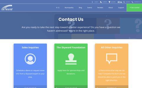 Screenshot of Contact Page skyward.com - Contact Us | Skyward - captured Nov. 18, 2019