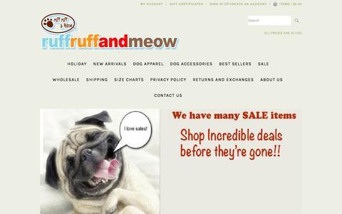Screenshot of Home Page ruffruffandmeow.com - Dog Clothes, Dog Tank Tops and Hoodies, Dog Bandanas, Pet Apparel from Ruff Ruff and Meow. - captured Dec. 1, 2016