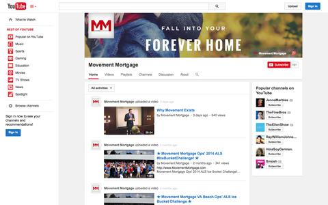 Screenshot of YouTube Page youtube.com - Movement Mortgage  - YouTube - captured Oct. 26, 2014