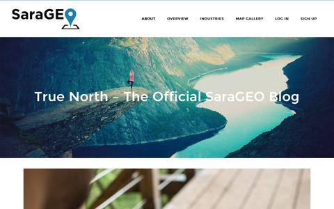 Screenshot of Blog sarageo.com - SaraGEO   Create maps of the people and places you care about most.   �  True North � The Official SaraGEO Blog - captured Dec. 22, 2015