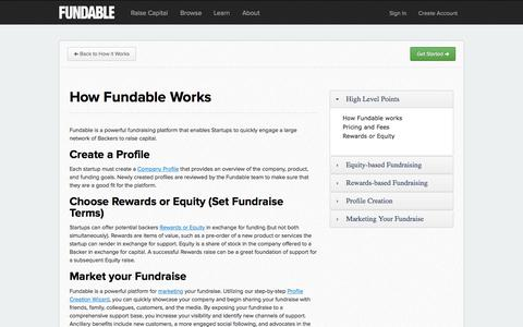 Screenshot of FAQ Page fundable.com - How Fundable works | Fundable - captured Nov. 18, 2015