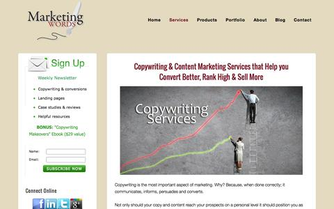 Screenshot of Services Page marketingwords.com - Copywriting & Content Writing Services Proven to Convert - captured Oct. 27, 2014