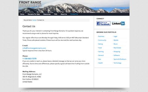 Screenshot of Contact Page frontrangedomains.com - Contact Front Range Domains - captured Oct. 6, 2014