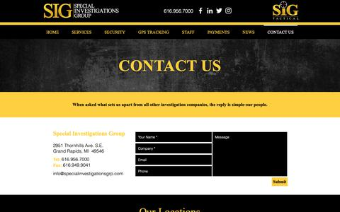 Screenshot of Contact Page specialinvestigationsgrp.com - Special Investigations Group | Grand Rapid, MI | Contact Us - captured Oct. 18, 2018