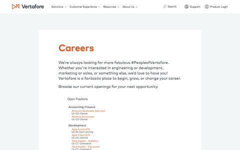 Screenshot of Jobs Page vertafore.com - Careers | Vertafore - captured Nov. 5, 2017
