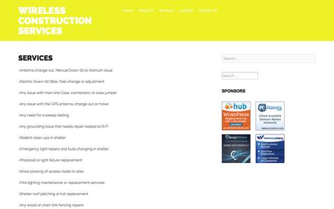 Screenshot of Services Page wcschicago.com - Services - Wireless Construction Services - captured Oct. 7, 2014