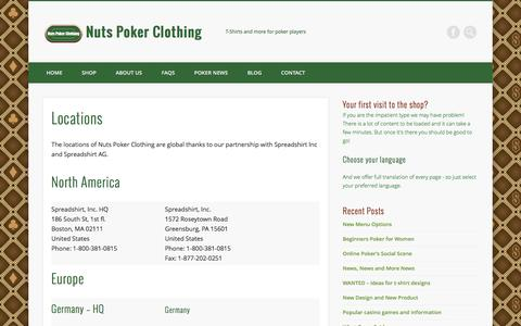Screenshot of Locations Page nutspokerclothing.com - Locations - Nuts Poker Clothing - captured Aug. 14, 2016