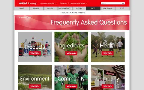 Screenshot of FAQ Page coca-cola.co.uk - FAQs | Coca-Cola GB - captured Feb. 18, 2016