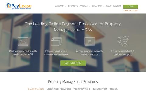 Screenshot of Home Page paylease.com - Online Rent Payment for Property Managers | PayLease - captured Jan. 14, 2015