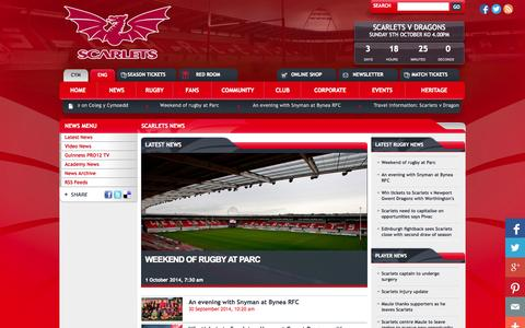 Screenshot of Press Page scarlets.co.uk - The Scarlets : News Index - captured Oct. 1, 2014