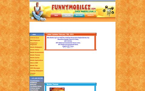 Screenshot of Home Page funnymobilez.com - Free Mobile Fun,Free Mobile Themes,Free Mobile Games,MP3 Ringtones,Mobile videos,Mobile Applications - captured March 13, 2016