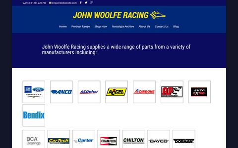 Screenshot of Products Page woolfe.com - John Woolfe Racing - Product Range - captured May 21, 2016