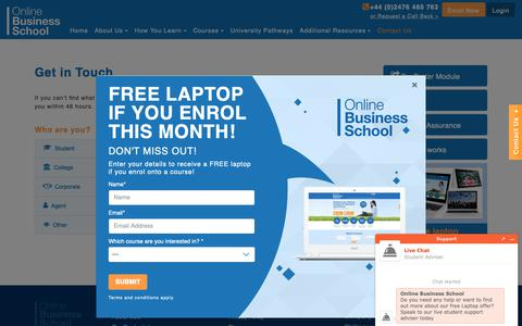 Screenshot of Contact Page onlinebusinessschool.com - OBS One Point Contact for Students, Colleges, Corporates & Agents - captured Oct. 18, 2018
