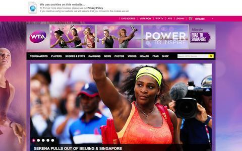Screenshot of Home Page wtatennis.com - Home | WTA Tennis English - captured Oct. 1, 2015