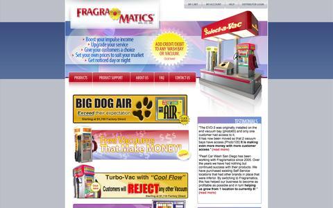 Screenshot of Home Page fragramatics.com - Fragramatics | Car Wash Vacuum Combination Units, Shampoo, Fragrance Dispensers - captured Oct. 6, 2014
