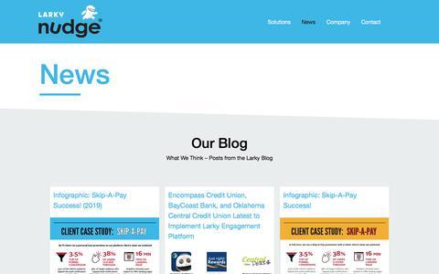 Screenshot of Press Page larky.com - News - Nudge - captured Aug. 14, 2019