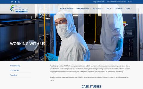 Screenshot of Case Studies Page roguevalleymicrodevices.com - WORKING WITH US - Rogue Valley Microdevices - Microelectronics Manufacturing - captured Oct. 20, 2018