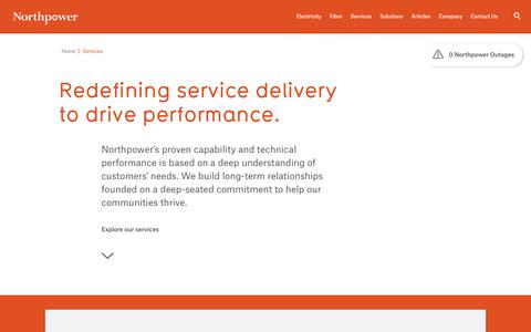 Screenshot of Services Page northpower.com - Northpower Services - Electricity Infrastructure Maintenance :: Northpower - captured Feb. 23, 2018