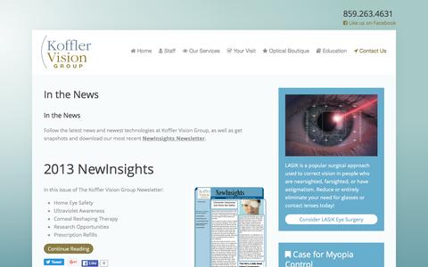 Screenshot of Press Page kyctrvis.com - In the News - Koffler Vision Group - captured June 24, 2016