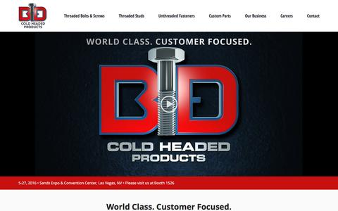 Screenshot of Home Page bdcoldheadedproducts.com - B&D Cold Headed Products - captured Oct. 18, 2016